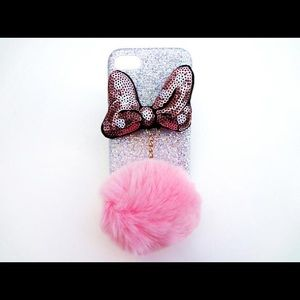 iPhone 5 5s Pink Pompom Glitter Minnie Bow Case